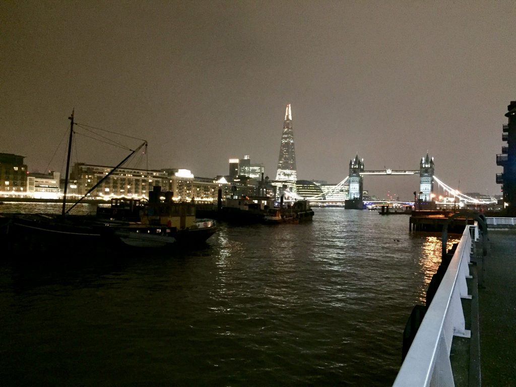 The Chard and Tower Bridge at night image.