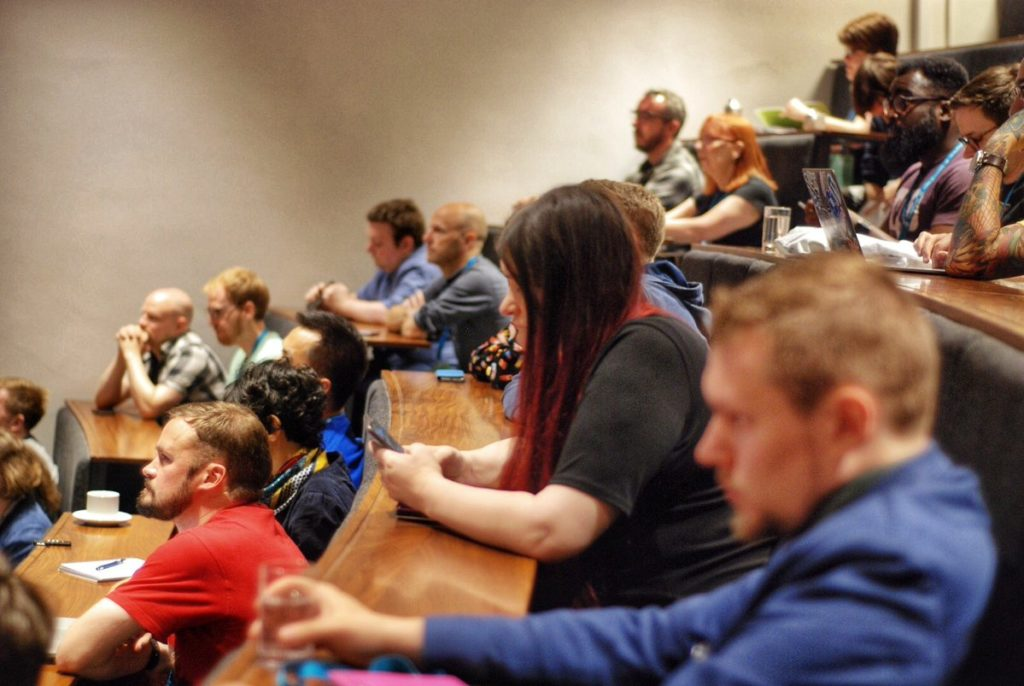 The audience listening carefully to Mark Wilkinson speaking at WordCamp Bristol 2019.