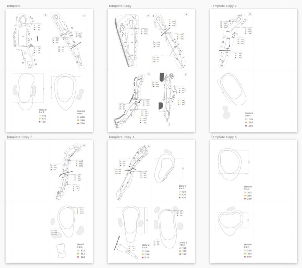 Example image of a print layout for the yardage book showing which holes need printing on which page.