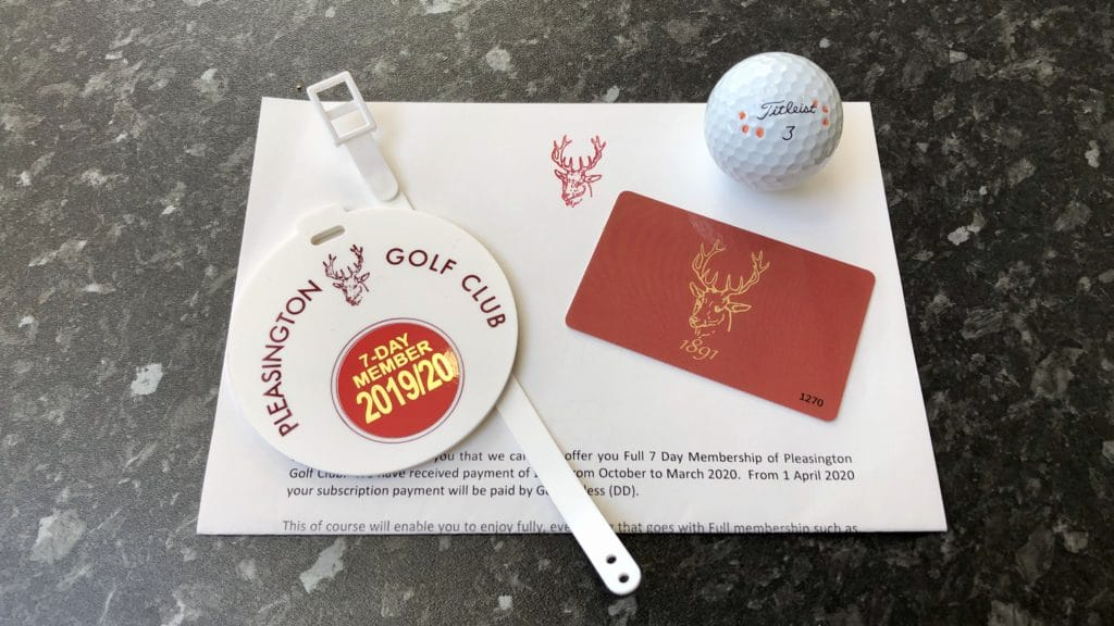 Pleasington Golf Club welcome pack including bag tag and clubhouse card.